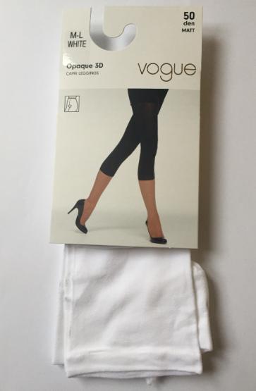 Vogue Opaque 3D Capri Leggings White M-L