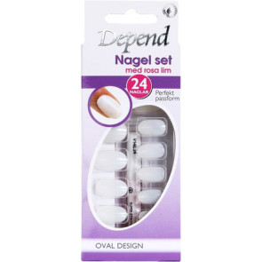 Depend French Look kunstige negle Ovalt Design 24 stk.- Rosa