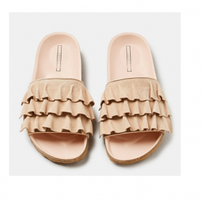 Esprit Slipper m. Flæser i Ruskind Light Beige Str. 37