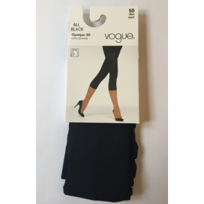 Vogue Opaque 3D Capri Leggings Black M-L