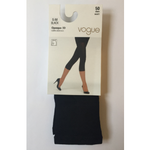 Vogue Opaque 3D Capri Leggings Black S-M